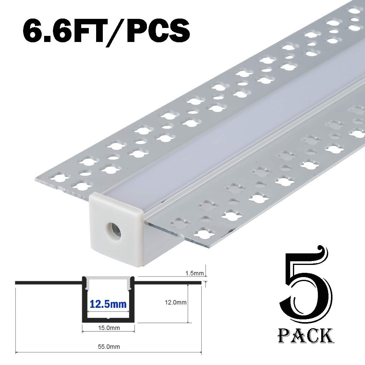 StarlandLed 5-Pack 6.6FT/2 Meter Plaster-in Recessed Slim LED Aluminum Channel with Flange for LED Strip, Aluminium LED Profile with Clip-in Diffuser and End Caps
