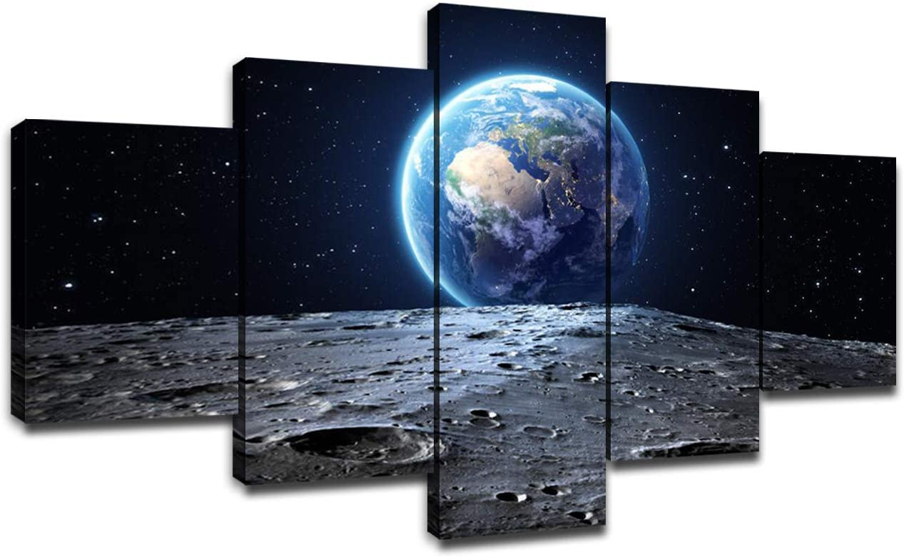 Universe Wall Art Poster Frame Art Outer Space Blue Earth and Moon Surface Wall Decor Canvas Prints Picture Painting Bedroom Office Bathroom Decorations Artwork Ready to Hang(60 x 32 inches)