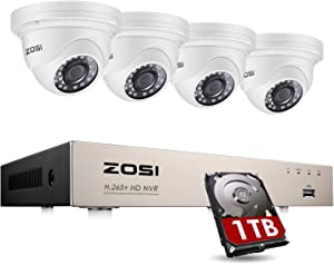 ZOSI 8CH 5MP 2K+ PoE Home Security Camera System with Hard Drive 1TB, H.265+ 8Channel 5MP CCTV NVR and 4pcs Wired 5MP Indoor Outdoor PoE IP Dome Cameras with 130ft Night Vision for 24/7 Recording