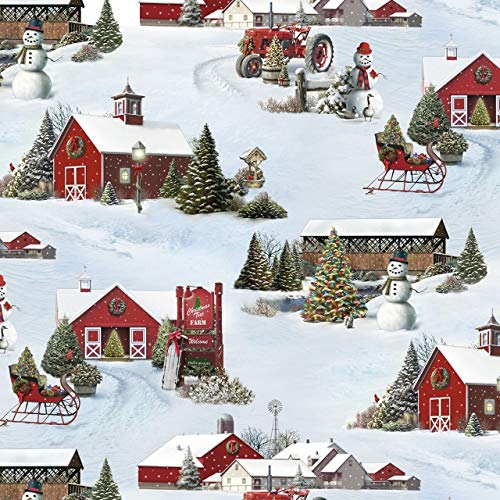 Tis The Season~Christmas Snow Scene Cotton Fabric by Elizabeths Studio ()