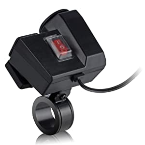 TurnRaise Imperméable à l'eau 12V Moto Guidon Mount Allume-Cigare 2.1 a USB Power Port Prise Combo pour iPad iPhone Cellphone GPS