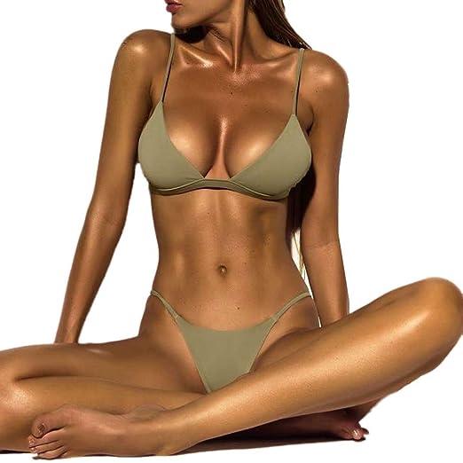 9de1df1c58 Highpot Women s Sexy Plain High Leg Triangle Bralette Bikini Two Pieces  Swimsuit (S