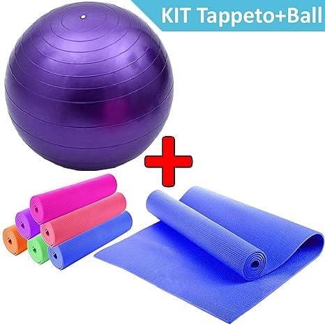DP Design® Alfombrilla Yoga + Gymball Morado pelota para ejercicio ...
