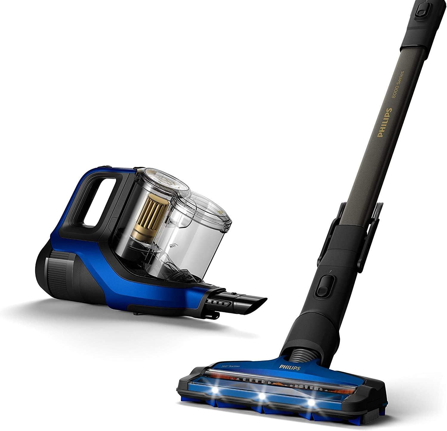 Philips Serie 8000 Escoba Aspiradora Vertical de Mano Sin Cable, 60 Autonomía y 28 Min en Modo, Succión 360 º, Luz Led, Cepillo Mini Turbo y Boquilla Largo Alcance Incluida, plástico, Azul: Amazon.es: Hogar