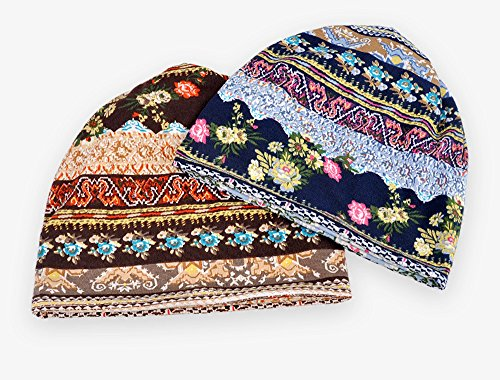 Qunson 2 Pack Women's Printed Baggy Slouchy Beanie Chemo Hat Cap by Qunson (Image #1)