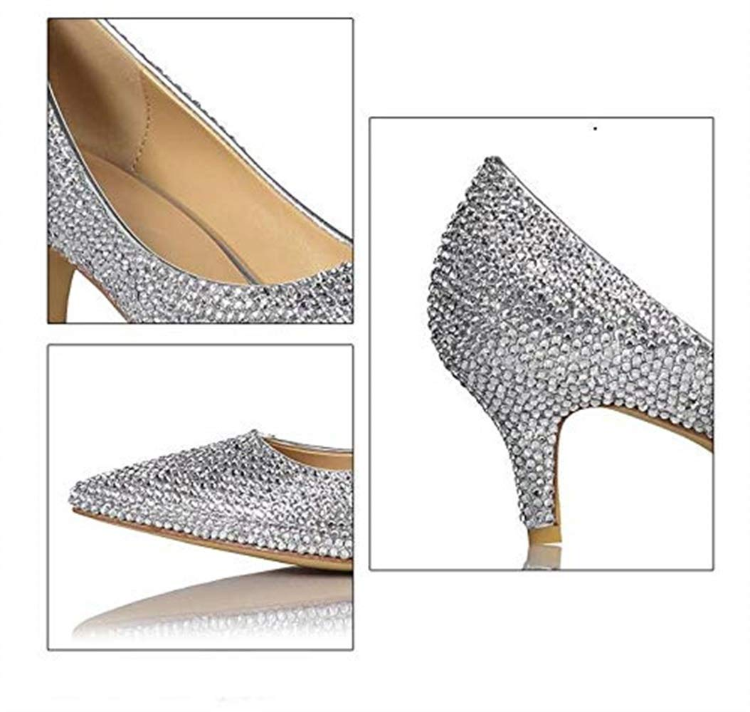 Moontang Damen Silber Silber Silber Strass Low Heel Schuhe Sexy Braut Sparkle Strass Hochzeit Schuhe Night Club Princess Tanzschuhe (Farbe   Silber Größe   6UK(Foot Length 25.5cm)) 889a3a