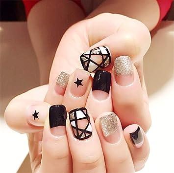 JUZEN 48 uñas postizas con Pegamento de uñas, uñas postizas de ...