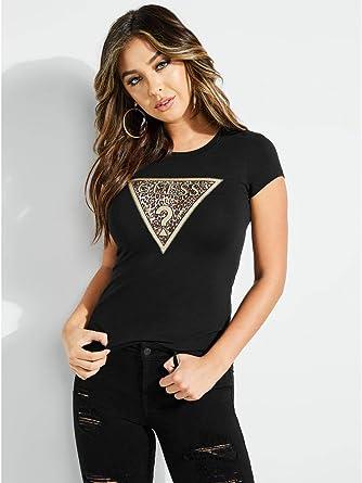 66008fc876cb GUESS Women's Short Sleeve Leopard Triangle T-Shirt, Jet Black a a, ...