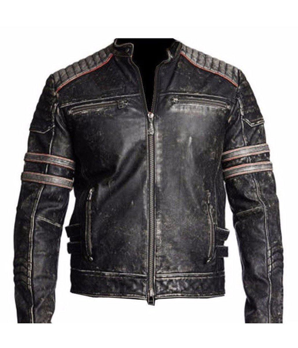 Feather Skin Men's Biker Vintage Motorcycle Distressed Black Retro Leather Jacket us-vin-dist-blk-l-p