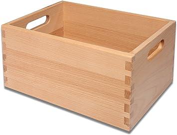 Caja de madera apilable, caja de ordenación para juguetes de haya maciza con unión de esquinas en dentado: Amazon.es: Juguetes y juegos