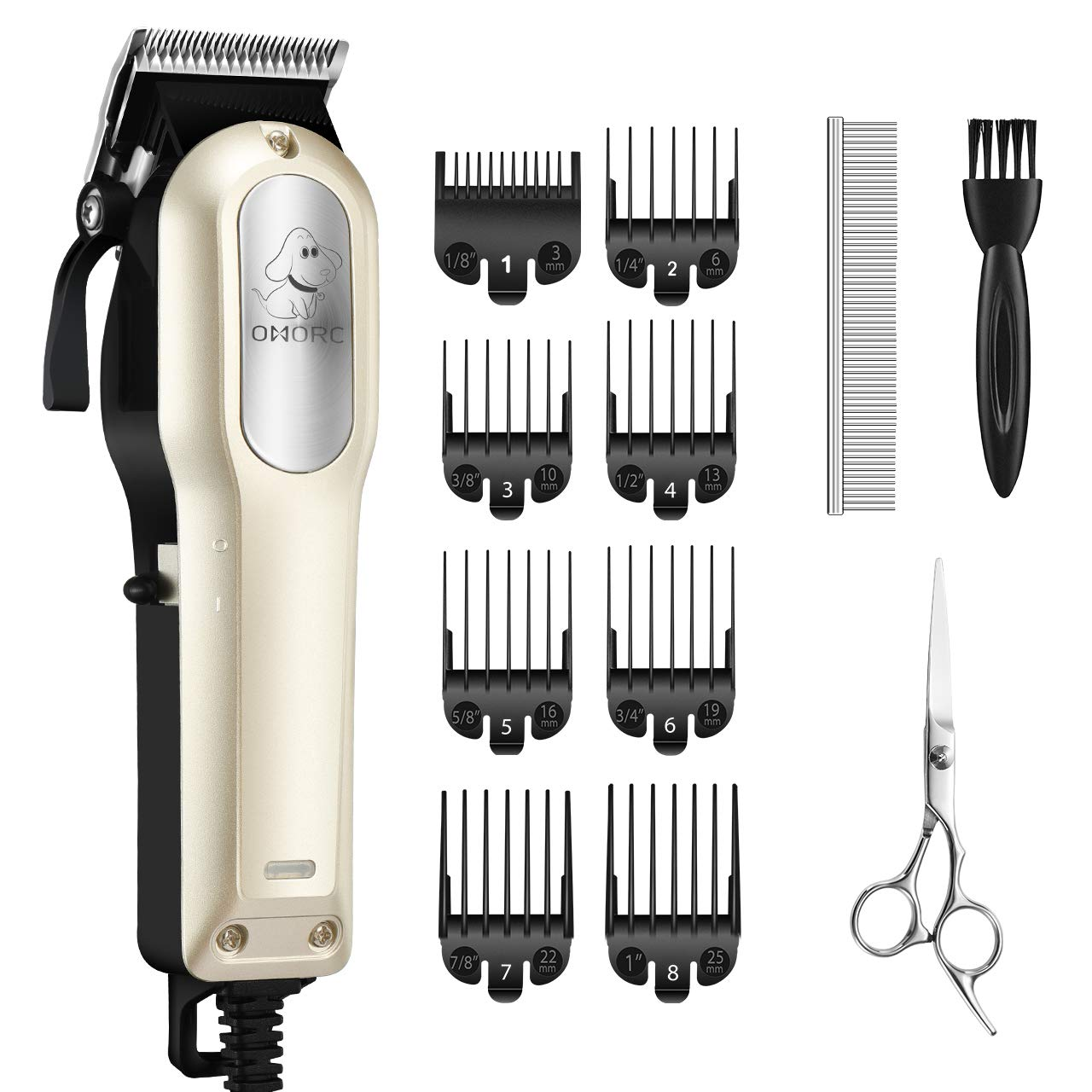 OMORC Dog Grooming Kit, Professional High Power Dog Clippers for Thick Heavy Coats Low Noise Heavy Duty Dog Grooming Clippers Pet Clippers Trimmer with 8 Comb Guides Scissors for Small Large Dogs Cats by OMORC