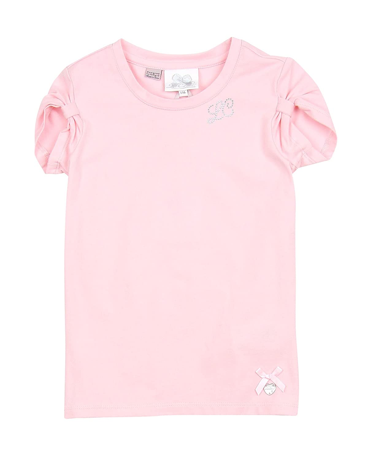 Le Chic Girls T-Shirt Gathered Sleeves Pink Sizes 3-12