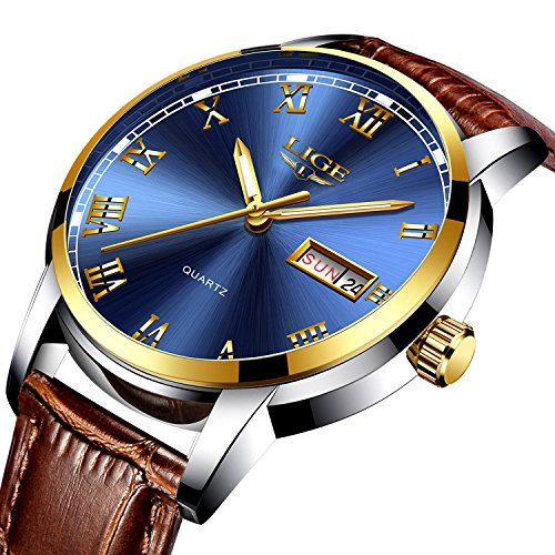 Men Watch Luxury (Watch Men's Luxury Quartz Casual Watch, LIGE Fashion Wrist Watch with Brown Leather Watches)