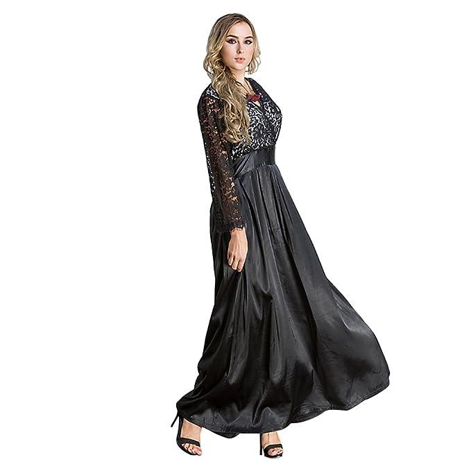 YAANCUN Vestiti Donna Eleganti Abito da Sera Estive Lungo Vestito in Pizzo Nero  Abito da Cerimonia 7050adb00ee