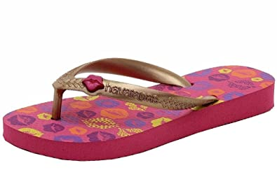 Havaianas Girls Fun Fashion Pink/Rose Gold Flip Flops Sandals Shoes Sz: 11