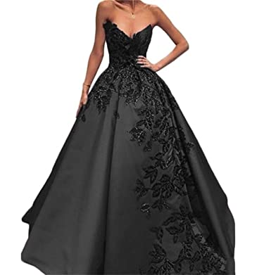 BanZhang Womens Long Evening Dresses Quinceanera Ball Gown Embroidery Plus Size B110 Black 2