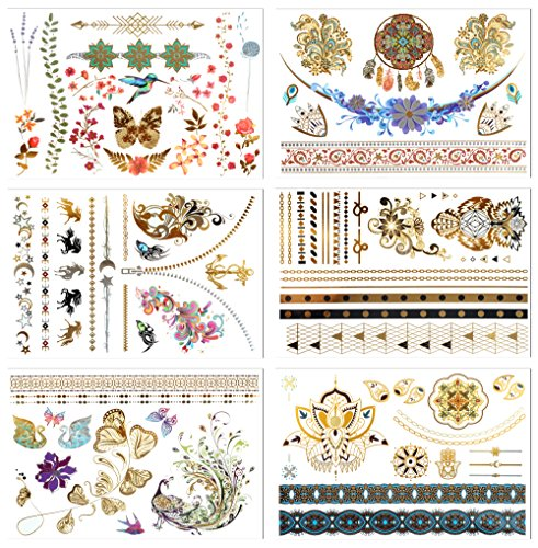 Vintage Star Flower (Metallic Temporary Tattoos, PrettyDate 6 Sheets 75+ Designs in Gold Silver Black, Fake Glitter Jewelry Tattoos- Bracelets, Necklaces, Wrist, Anklets and Armbands(Vintage Collection))