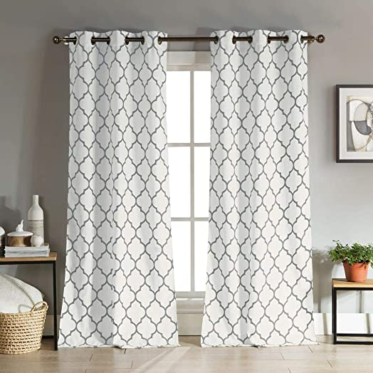 Duck River Textiles – Mason Geometric Linen Textured Grommet Top Window Curtains for Living Room Bedroom – Assorted Colors – Set of 2 Panels 38 X 96 Inch – Gray