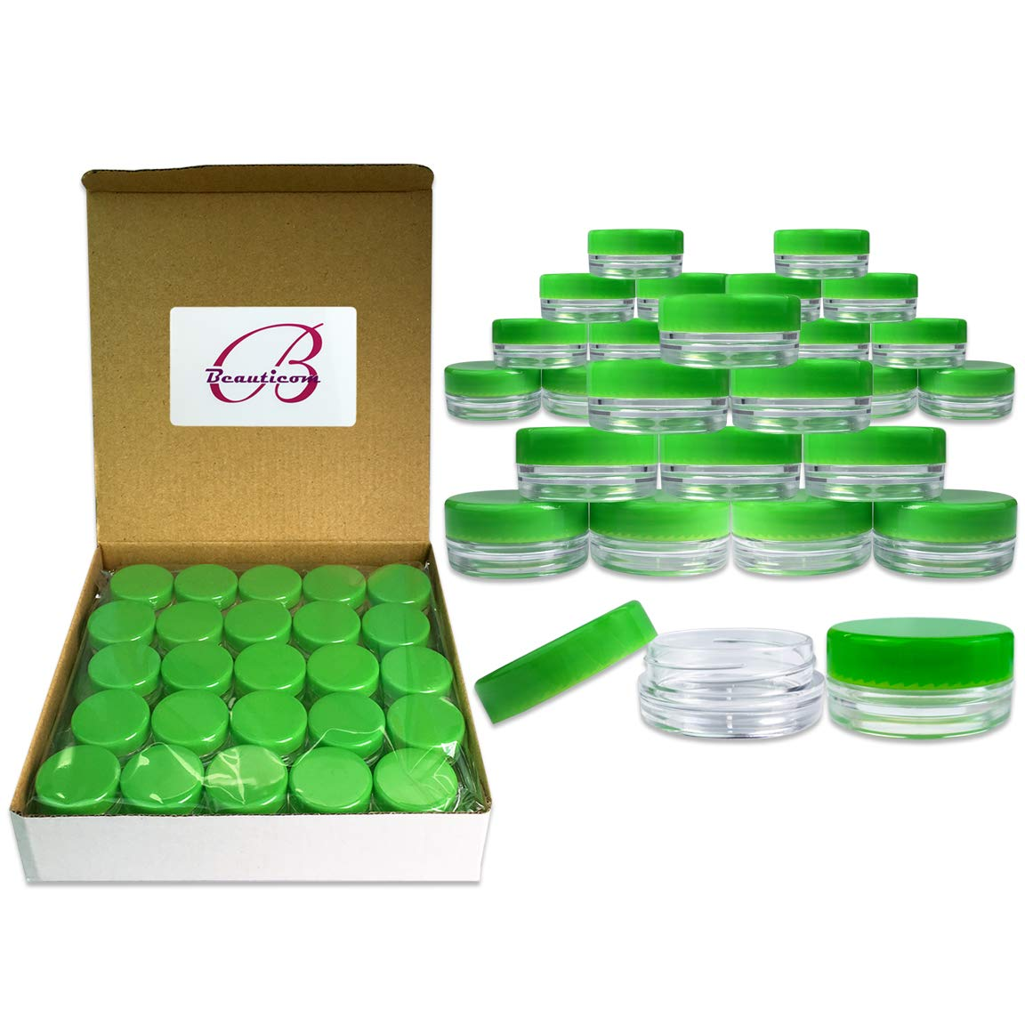 Quantity 100 Pieces Beauticom 3G 3ML Round Clear Jars with GREEN Lids for Scrubs, Oils, Toner, Salves, Creams, Lotions, Makeup Samples, Lip Balms – BPA Free