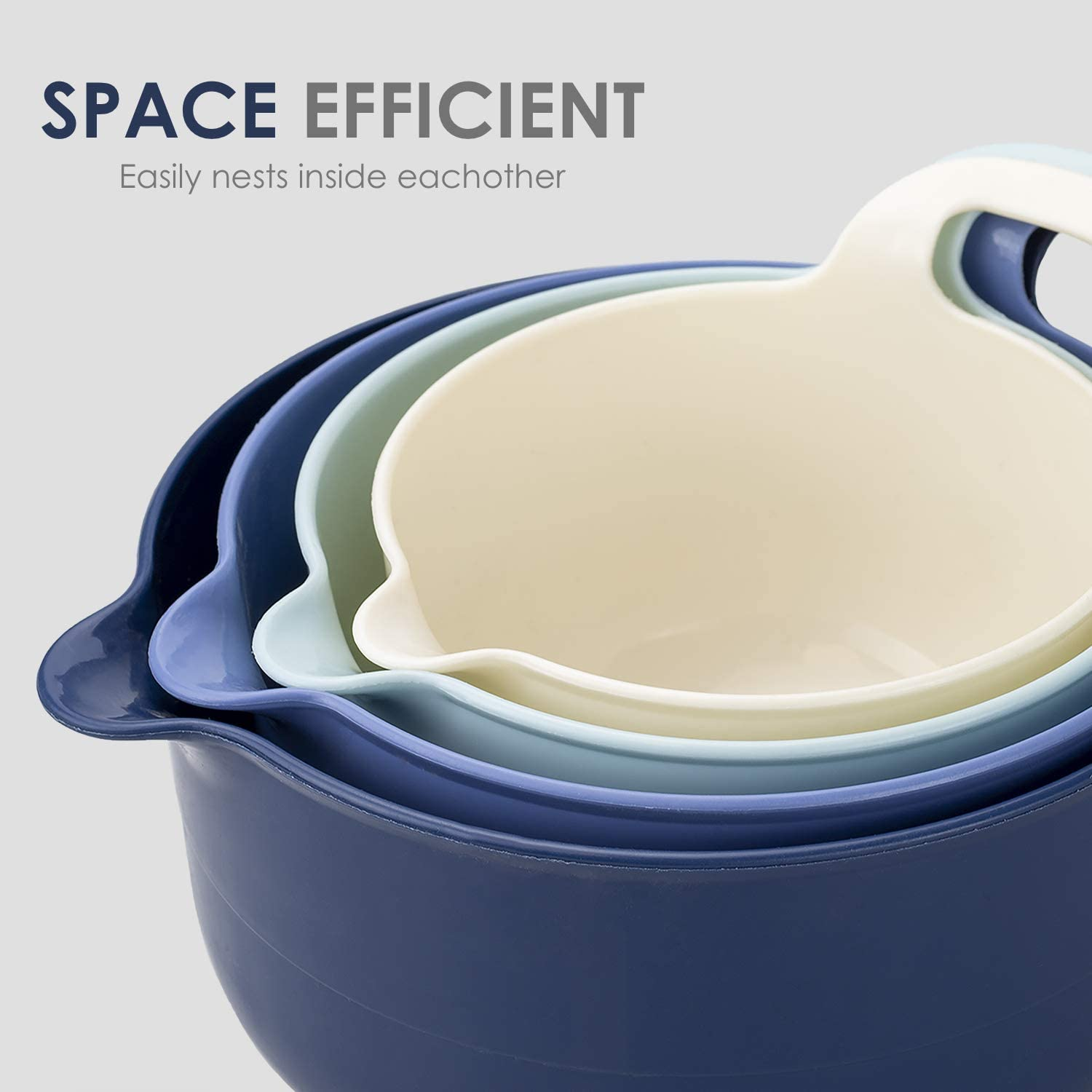 Ombre Blue Cook with Color Mixing Bowls 4 Piece Nesting Plastic Mixing Bowl Set with Pour Spouts and Handles