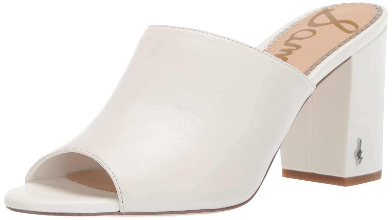 Bright White Leather Sam Edelman Womens Orlie Heeled Sandal