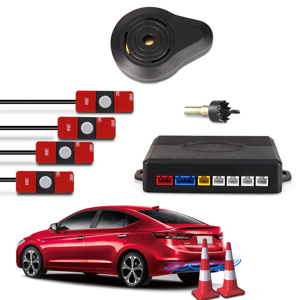 CAR ROVER® Sensor Aparcamiento Kit 4 13mm Sensor Marcha Atras con Zumbador Bibi Alarma de Sonido (Negro) Startway Autopart