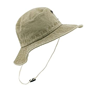 aa3d03cc LETHMIK Weathered Cotton Boonie Hat Unisex Fishing Sun Camouflage Hat With  Chin Cord Beige