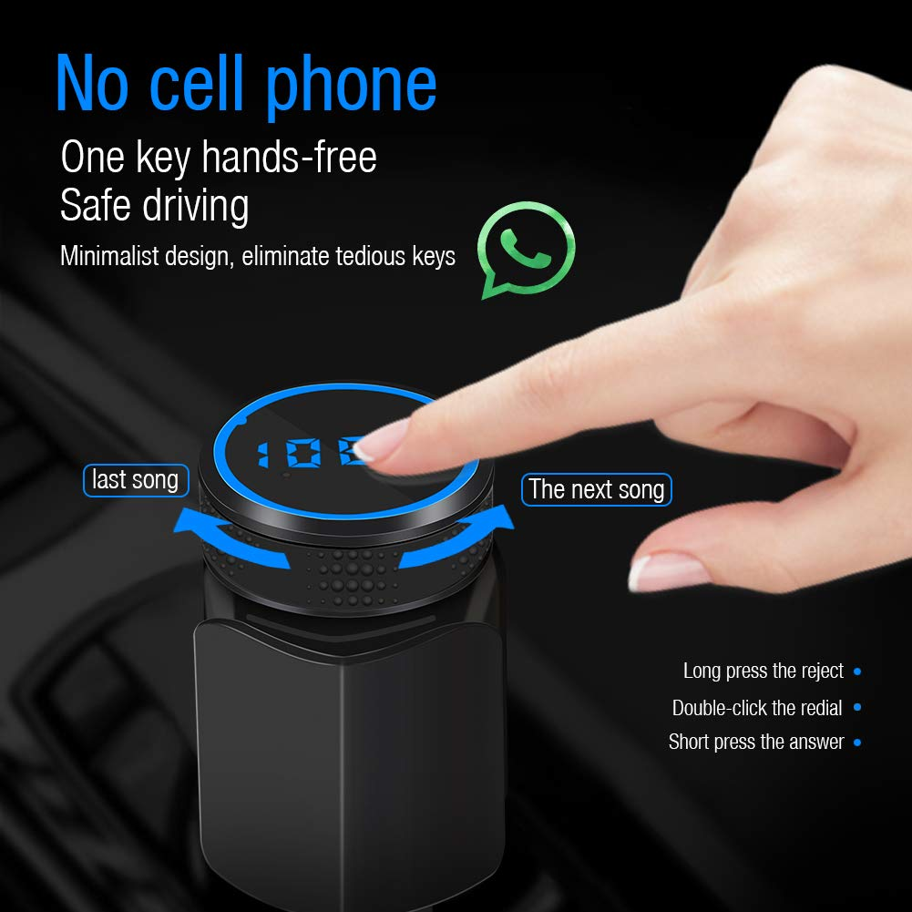 XunDo Wireless 4.1 Bluetooth FM Transmitter Receiver Kit For Car QC3.0 Radio Adapter Hand-free Speaker HI-FI Audio Player Support TF//SD AUX Voltmeter/With 3-1 USB Cable&Smartphones Holder(sapphire)