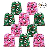 BeeGreen Soccer Party Supplies Favors Bags Drawstring Gifts Bags 10 Pack