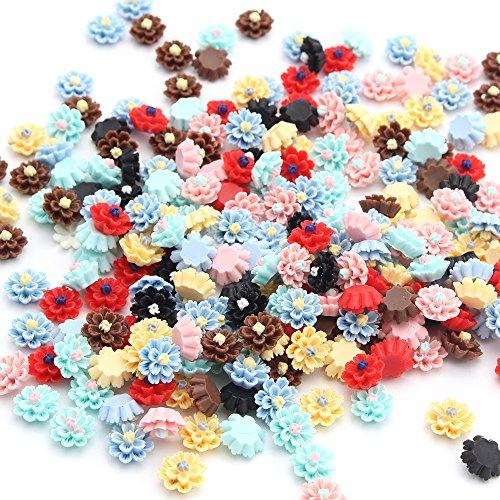 50pcs/lot 12mm Flatback Resin Flower Hairpin Headwear Handmade Accessories (Random mixed 1) (Resin Accessories)