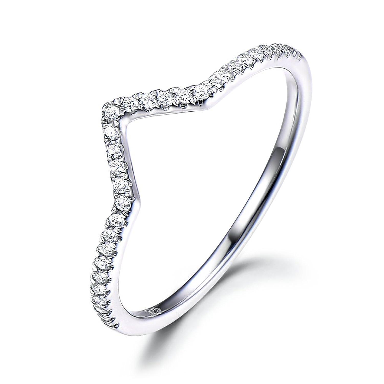 925スターリングシルバーV字型CZキュービックジルコニア結婚指輪ホワイトゴールドメッキChevronスタッキングリング B0772FQT2H 4.5