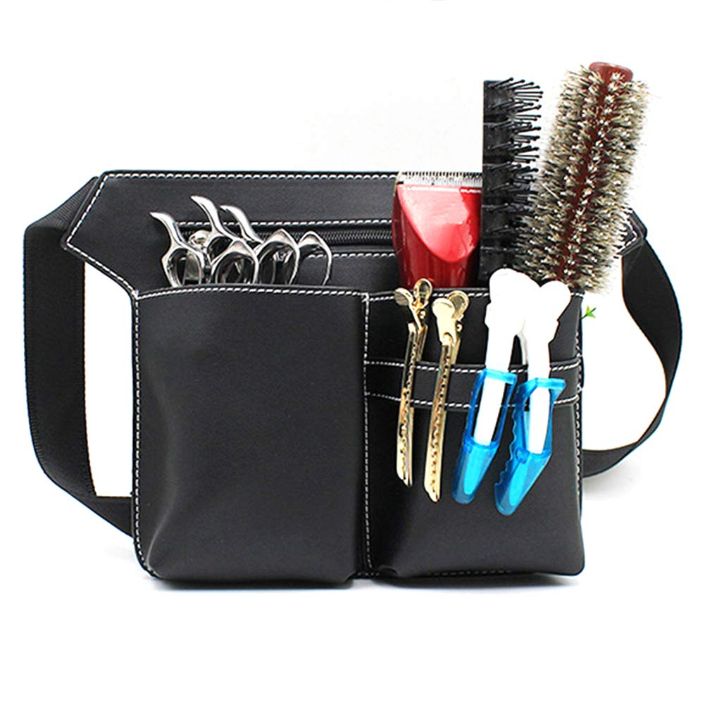 Leather Retro Large Professional Barber Salon Scissors Pouch Holster Holder Hairdresser Tool Bag with Belt
