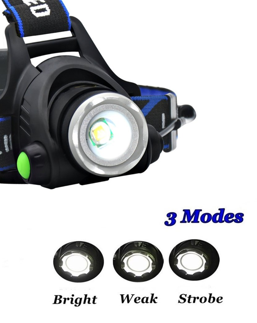 HeQiao LED Headlight 5000 Lumen Camping Headlamps Adjustable Strap Headlight Flashlight Rechargeable LED Work Light for Outdoor Sports (3-Mode, Light-weight, Anti Sweat) (Bright Blue)