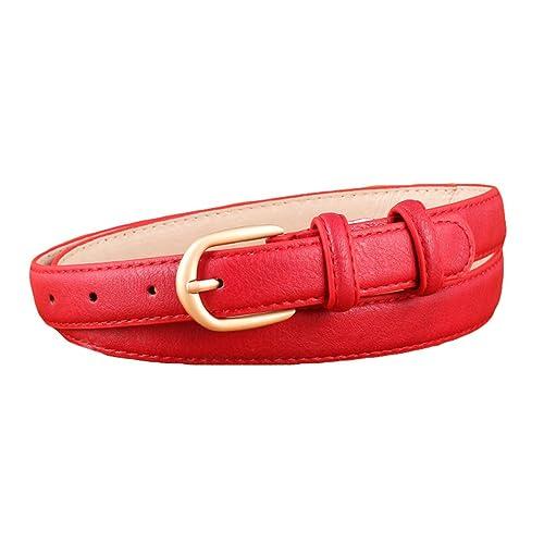 Lumeidon Mujer Aguja Hebilla Cinturones Anchos Cinturón Joker Pantalones Vaqueros Rojo(109CM)