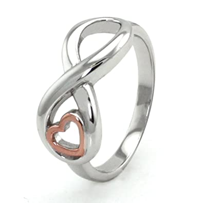 Sterling Silver Infinity Ring w Rose Gold Heart Amazon