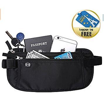 Riñonera monedero para viajar, oculta, con portapasaporte, con bloqueo RFID