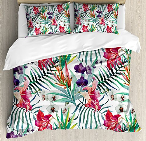 Ambesonne Floral Duvet Cover Set King Size, Watercolored Tropical Exotic Foliage Vibrant Color Palette Hawaiian Summer Season, Decorative 3 Piece Bedding Set with 2 Pillow Shams, Multicolor ()