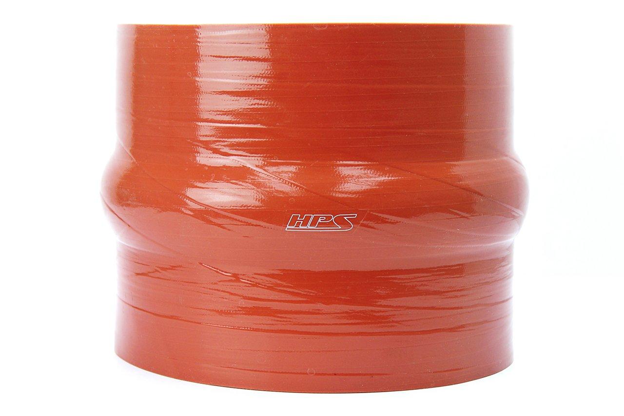 HPS 5'' ID, 6'' Length, Silicone Hump Coupler Hose, Ultra High Temp 4-Ply Aramid Reinforced, 30 Psi Max. Pressure, 500F Max. Temperature, SHC-500-L6-HOT, Silicone, Orange