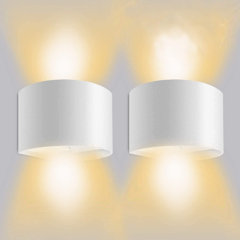 LEDMO Apliques de Pared LED 3000K,Lamparas De Pared LED 12W Impermeable IP65 con Luz Blanco Cálido Lluminación de Exterior y De Interior