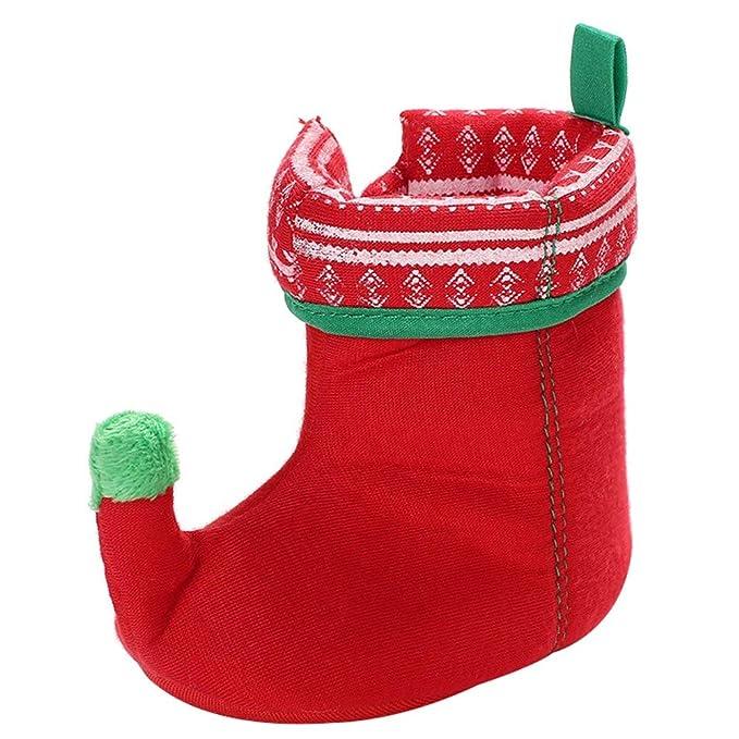 44f0653bdf Baby Boys Girls Christmas Slipper Shoes Toddler Cozy Santa Snow Booties (Red  11)