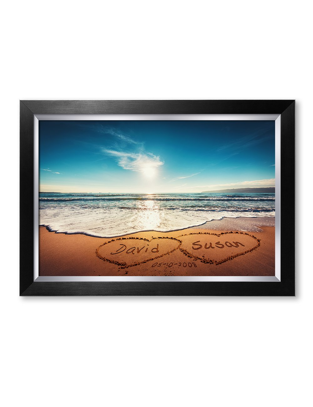 IPIC - ''Heart in Heart, Personalized Artwork with Names and Date on, Perfect Love Gift for Anniversary,Wedding,Birthday and Holidays. Picture Size: 24x16, Framed Size: 27x19x1.25