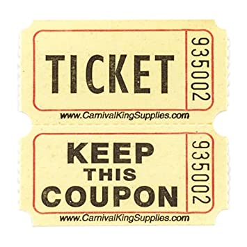 Amazon.Com : Yellow 2-Part Raffle Tickets 2000/Roll : Office Products