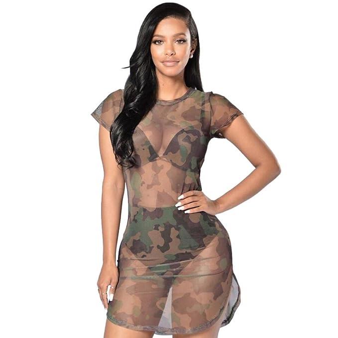 c3236fa6a WINWINTOM 2018 Cóctel Fiesta Diario Playa Vestir, Verano Mujer Casual  Vestidos, Mujer Bodycon Camuflaje Gasa Ver-a Través Escarpado Vestir Noche  Vestir: ...