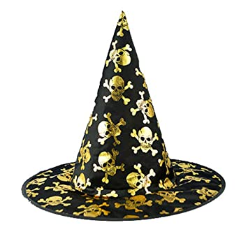 Qiusa Sombrero de Bruja Negro para Mujer Adulto de Halloween para Gorro Accesorio de Vestuario (Color : Oro): Amazon.es: Hogar