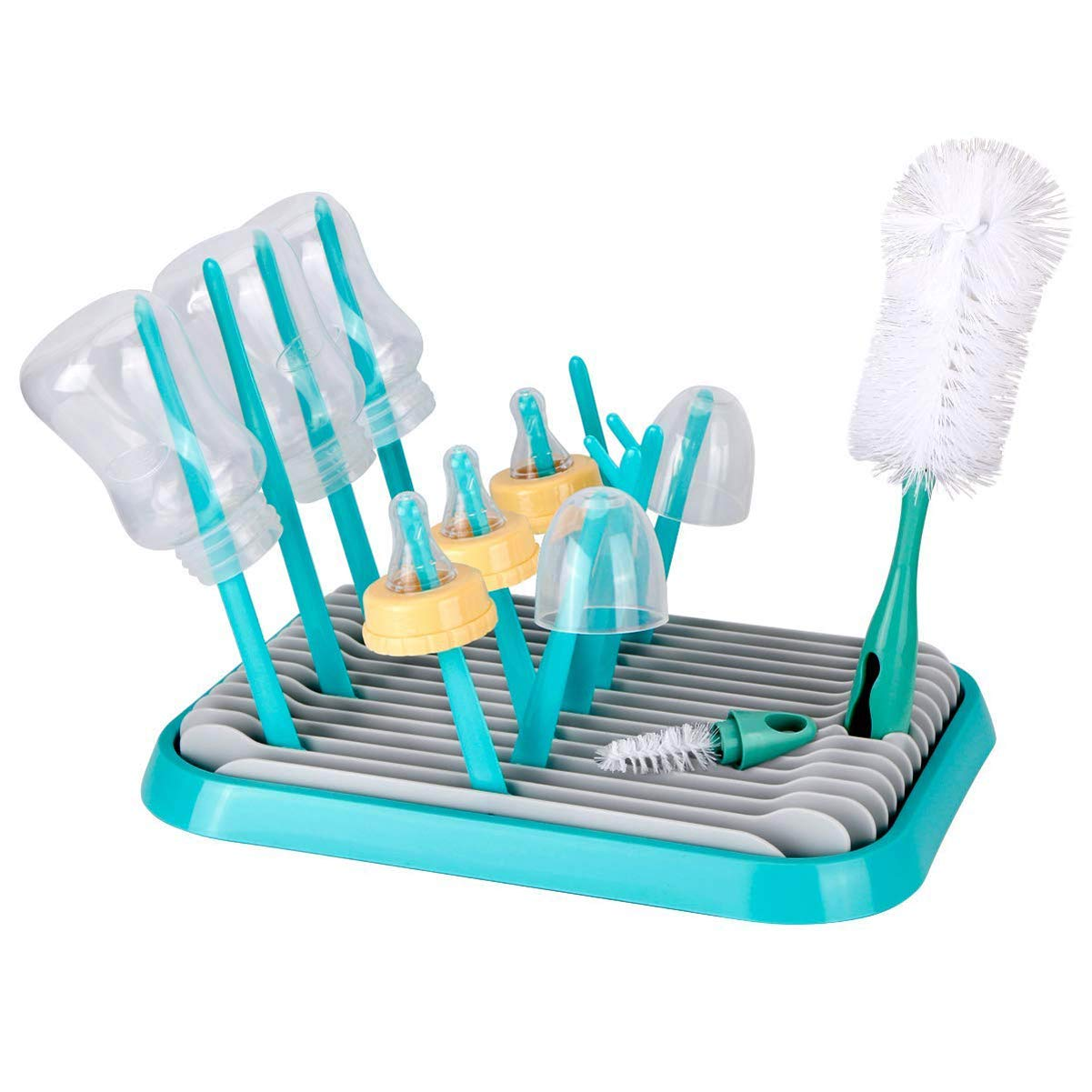 Baby Bottle Drying Rack with Bottle Cleaning Brush Set/Plastic Bag and Bottle Dryer - Drying Rack Saves Money and The Planet Folds for Easy Storage by Hestier