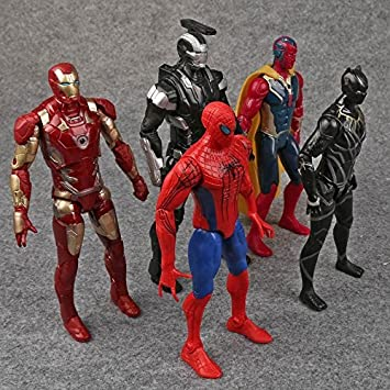 Buy 5pcs Set Captain America 3 Civil War Iron Man Vision Spiderman War Machine Black Panther Pvc Action Figures Toys Online At Low Prices In India Amazon In