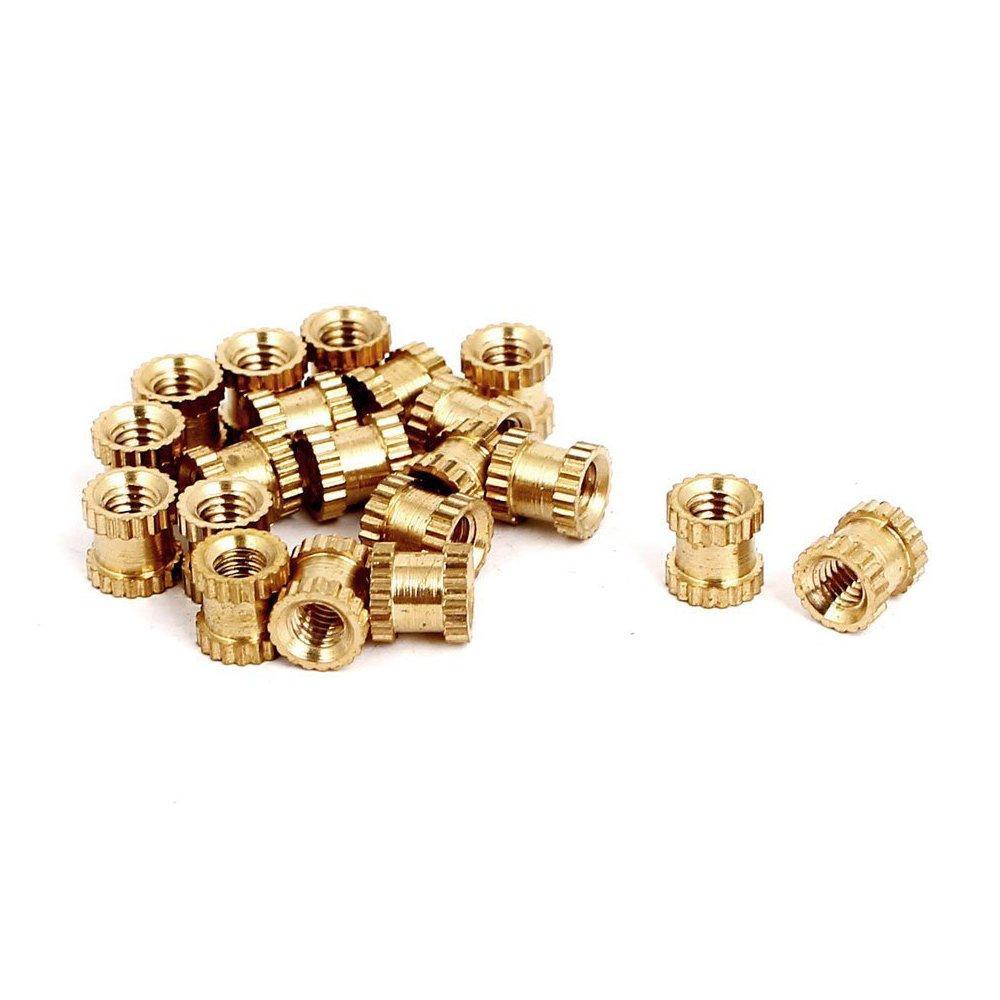 SODIAL(R) M3x5mmx5mm Female Threaded Brass Knurled Insert Embedded Nuts 20pcs