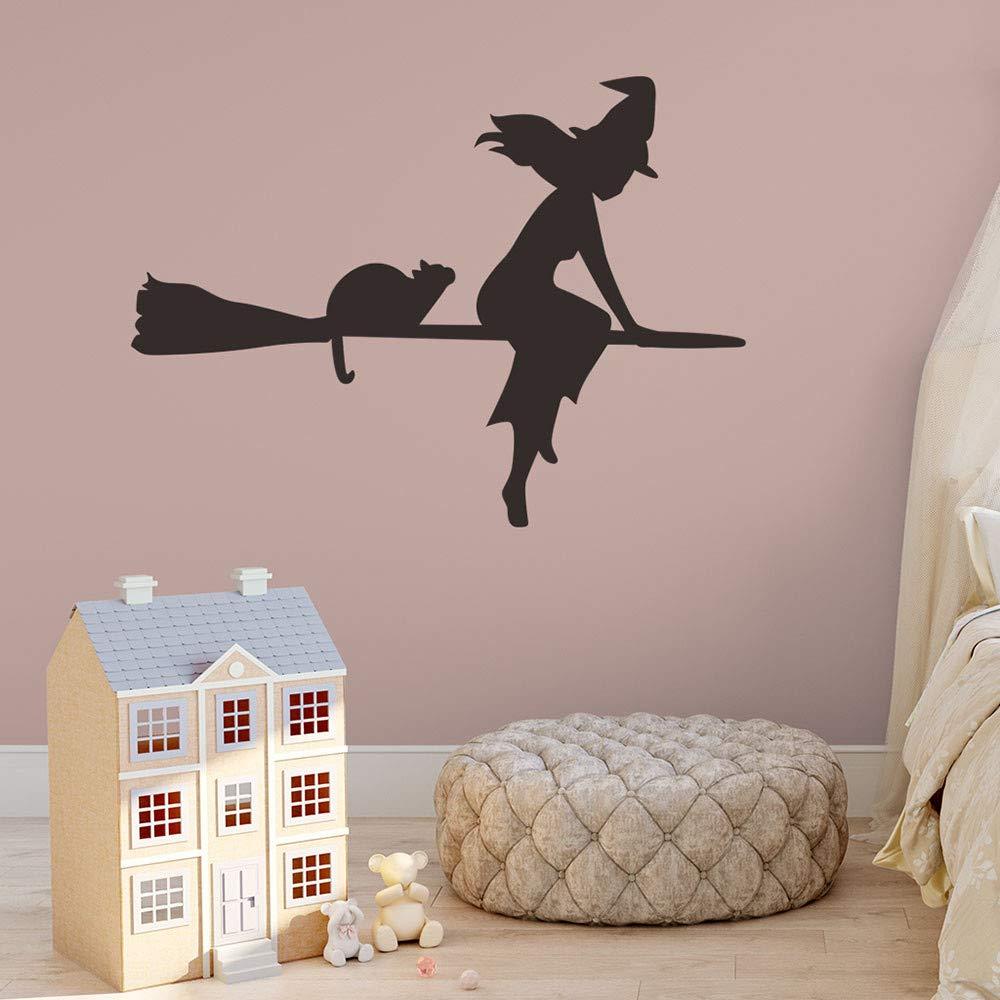 Halloween Wall Decal Sticker Ankola Witch Flying with Cat Halloween Wall Decal Sticker Art Décor (22.8'' X16.9'', Black) by Ankola (Image #1)
