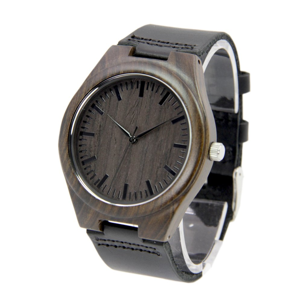 Natural Black Sandalwood Watches for Men with Genuine Leather Strap