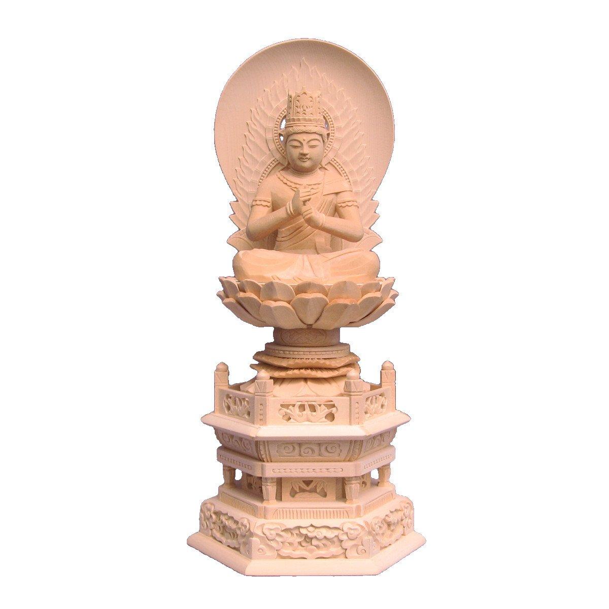 木彫仏像 大日如来(金剛界) 座像 3.0寸 日輪光背 六角台 桧木 B01LN0O3US